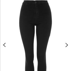 Topshop Joni Undone Hem Black Jeans